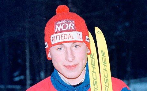 VENNERFRASKIMILJØET:Hans Christan Aarnes (bildet) fra da han var aktiv i skigruppa til Nittedal IL, der han også ble kjent med Kristian Løvlie.