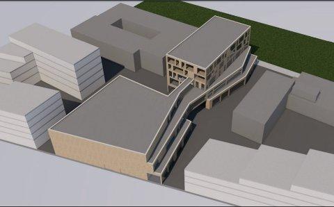 SKISSE: Slik kan det nye kulturkvartalet i Vestby bli. Flertallet i kommunestyret vil investere 400 millioner kr i prosjektet.