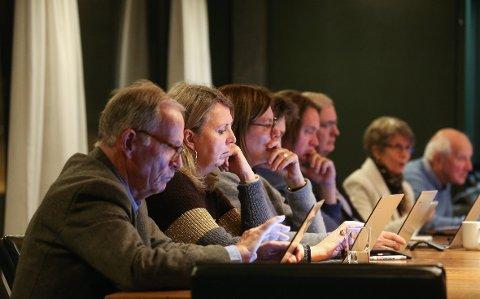 ALVOR: Kostnadsoverskridelsene for Heggedal Skole var ingen munter sak for formannskapets politikere. Fra venstre Anders Utne (Ap), Marianne Riis Rasmussen (Ap), Kristin Bjelke (MDG), Jostein Tellnes (V), Ole Jacob Johansen (Frp), Hans A. Hveem (H), Elisabeth Selmer (H) og Leif Frode Onarheim (H). FOTO: EVA GROVEN