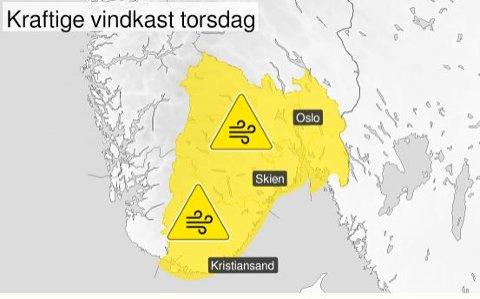 Det er ventet relativt kraftig vind torsdag, spesielt langs kysten.