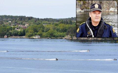 Vannskutere er på klagetoppen denne båtsesongen. Politioverbetjent Hans- Eirik Thue (innfelt) sier noen ødelegger for mange.