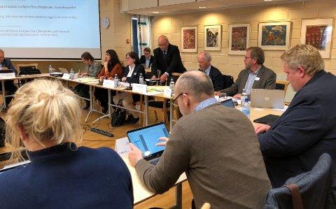HALTER VIDERE: Fylkesordfører Anette Solli (H) fra Akershus leder Fellesnemnda. Her setter Buskeruds fylkesordfører Roger Ryberg (Ap) seg ved siden av henne ved møtebordet. Arbeidet med sammenslåing går videre, etter at Stortinget vedtok at det kan brukes tvang.