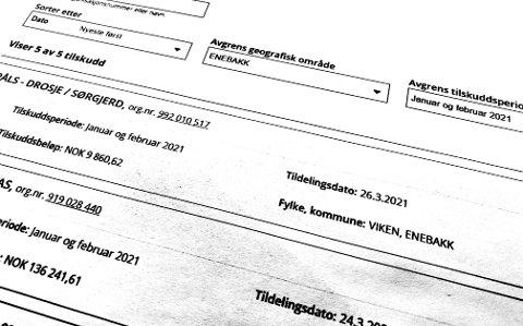 Fem bedrifter i Enebakk har fått utbetalt penger fra staten for inntektstap i årets to første måneder.