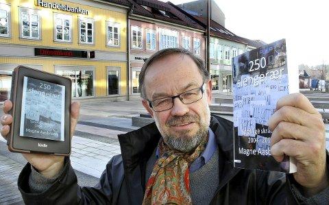 På to plattformer: Magne Aasbrenns slengærsamling er tilgjengelig både som tradisjonell papirbok og som nedlastbar digitalbok. Foto: Svein Kristiansen