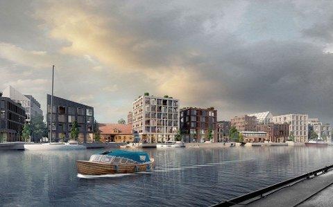 TROSVIKSTRANDA: Værste er i gang med sin gigantutbygging på den gamle verftstomta i Fredrikstad. På den andre siden av elva vil Cityplan og Fredrikstad kommune utvikle Trosvikstranda til en ny og urban bydel.