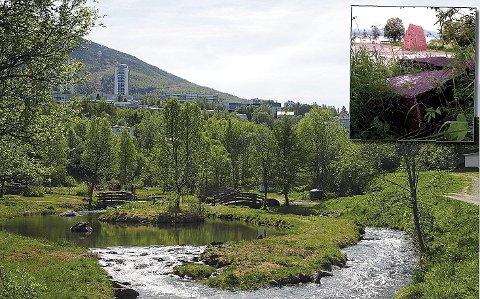 Flyttes: Hit inn i Elvedalen skal den 3 meter og 80 cm høye granittportalen (innfelt) til Bård Breivik flyttes. Hvor, er ennå ikke bestemt.
