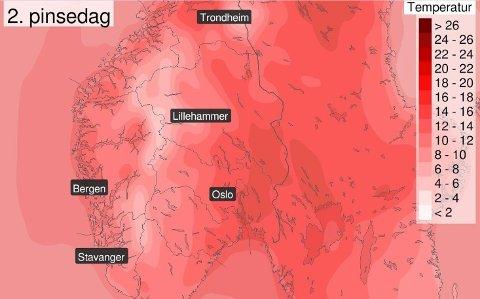 SOMMERLIG: Kommende mandag, 2. pinsedag, har temperaturutsikter som peker mot sommer, varsler meteorologene.