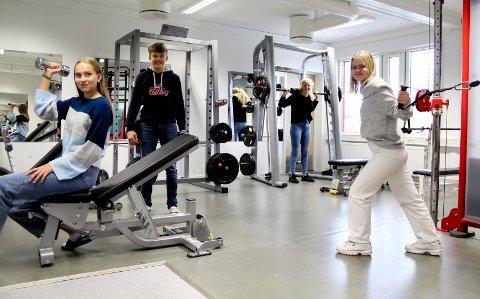 DAGLIG AKTIVITET: På ungdomsskolen har elevene ved NTG felles idrettsaktiviteter hver eneste dag. Det   bidrar til et bedre klassemiljø forteller elevene. Fra venstre: Marthe Haukerud (14), Jonas Høgås Lie (15), Mille Leer Sandstad (16), og Dorthea Kvarv Andreassen (16).