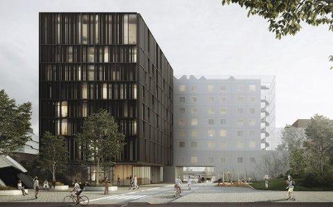 TILBYGG: Slik blir det åtte-etasjes høye tilbygget ved Scandic Hotel Hamar når det står ferdig. Ø.M. Fjeld - med base i Kongsvinger - skal stå for byggingen.