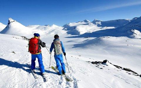 FLERE PÅ TUR: Stadig flere finner gleden ved å gå på tur i de flotte fjellområdene og naturen i Gudbrandsdalen og Lillehammerregionen. Bildet viser området rundt Leirvassbu i Jotunheimen i all sin prakt en magisk aprildag i fjor. Kyrkja til venstre i bildet.
