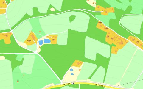 Kart over Roterud og Holtlivegen der huset skal bygges.