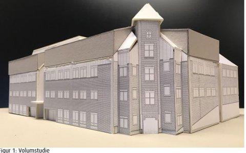 LØFTES: Det eksisterende taket på bygget skal heves mott vest og sør i Bryggerigata.