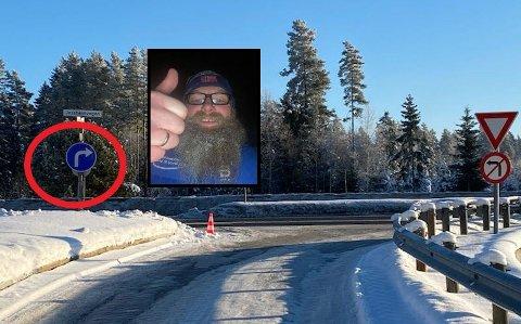 TOMMEL NED: Hans-Petter Trondsen er kjent for å være en handlingens mann. Da den nye skiltingen ikke ble fulgt, reiste han til Lillehammer, kjøpte et skilt og satte det opp - betalt av egen lomme.