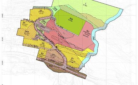 Plankart: I planen er det regulert fortau frå haldeplass ved fylkesveg og opp til barnehage og skule, då det er lagt til rette for at bussar ikkje skal opp til skuleområdet, men sleppa elevar av nede ved vegen. Illustrasjon: Geoplan AS