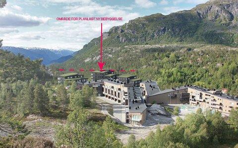 Dei tre bygga bakerst er det nye planlagte byggetrinnet på Solfonn. Illustrasjon: Erik Asbjørnsen/Arknet AS.