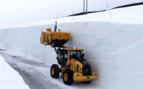 BRØYTEOPPDRAG:Graveservice AS har brøytet veien til Hamnefjell vindkraftverk siden oppstarten. Det er første gangen de har opplevd så mye snø på denne strekningen.