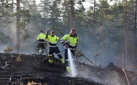 Nylig brant et skogområde sør i Aurskog-Høland. Med stor skogbrannfare, går brannvesenet ut med en advarsel om utvise ekstra varsomhet de nærmeste dagene.  Foto: Trym Helbostad