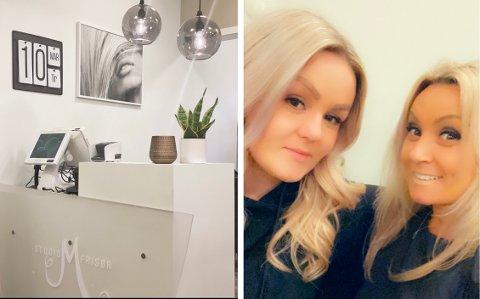 Studio M på Halsnøy var berre ein av mange frisørsalongar som måtte stenga denne veka. Camilla Rein Eide (t.v.) og Merethe Normann har full forståing for restriksjonane til myndigheitene. (Foto: Privat).
