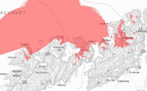 Kabelbrudd: Det røde området viser stedene som er berørt av kabelbruddet.