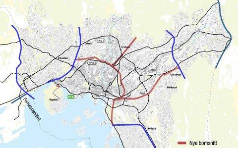 BOMRINGER: Det kan komme mange titalls nye bomstasjoner i Oslo. Rød stripe er forslag til ny indre bomring med armer. Illustrasjon: Statens vegvesen