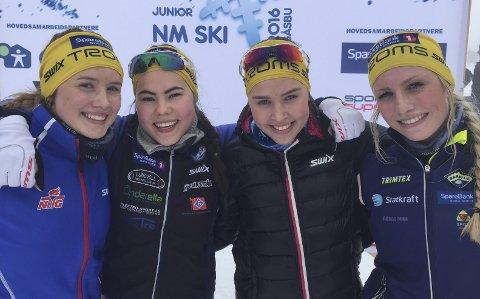Ingvild Ofstad (t.v), Synnøve Larsen, Synne Arnesen og Johanne Heimdal har all grunn til å være fornøyd med innsatsen i junior-NM.