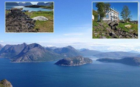 KREVER BETALT: Sessøya ligger ytterst i havgapet utenfor Tromsø. Her kjøpte investoren Morten Kleven en eiendom og satte i gang renovering og byggearbeider i vår. Nå er han ilagt gebyr av kommunen. De innfelte bildene er tatt ved kommunens befaring.