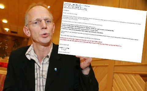RÅDMANN: Jan-Hugo Sørensen er kommunedirektør i Nordreisa. Han reagerte sterkt da denne mailen kom inn.