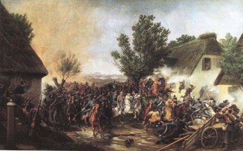 Slaget ved Isted i 1850. I midten, på sin hvite hest, sitter general Schleppegrell, dødelig såret av en kule i hodet. Detalj fra et gammelt maleri. Friderich Adolph Schleppegrell var født på Brunla gård og ble general og krigshelt i Danmark.  Schleppegrell red alltid fremst i kuleregnet. Fra et maleri av Otto Bache.