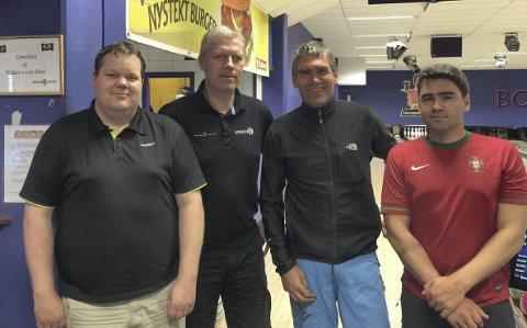 BOWLINGUTVALGETt: F.v.: Kristian Berglund, Bjørge Furuheim, Ove Osgjelten og Bjørnar Osgjelten. Ikke til stede da bildet ble tatt: Ole Jonny Nordeng. (Foto: Privat)