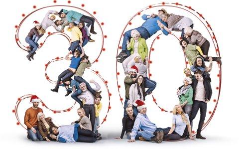 VINNERE: 30 personer fikk en ekstra julegave i år; litt over 1,3 millioner kroner til hver. (Illustrasjon: Norsk Tipping)