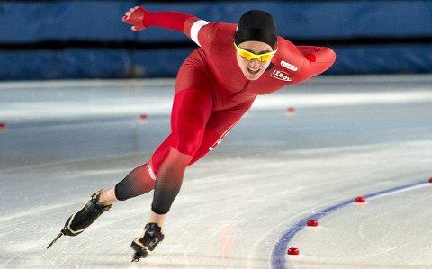 TOPPLØP I DEBUTEN: Ole Bjørnsmoen Næss har aldri gått fortere på europeisk is. VM-debuten ble en stor opplevelse for tynsetingen som ble nummer ni. (Foto: NTB Scanpix)
