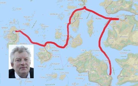 Kartet  viser hvor ferga går i dag gjennom fem øyer fra Nordnesøy ytterst til Jektvik eller Kilboghamn innerst. Melkebonde Carl Einar Isachsen (innfelt) på Hestmona mener forslag til å droppe at ferga enkelte ganger går helt til Kilboghamn, er verre enn dagens rute.