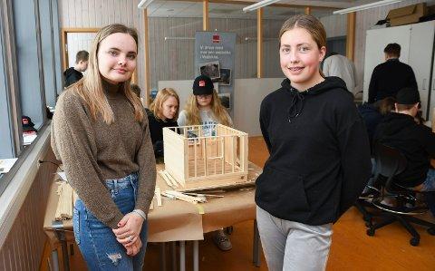 Lot seg begeistre: Eva Sofie Mandryk (t.v.) og Eine Haldos har bygd modellhus i to dager. Elevene i 9. klasse på Brøttum barne- og ungdomsskole kan tenke seg en framtid innen byggfaget.