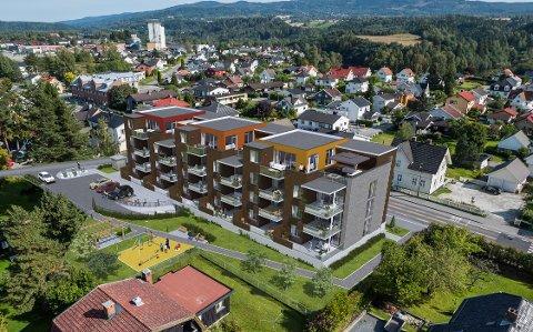 FIRE ETASJER: Det nye leilighetskomplekset skal ha fire etasjer pluss garasjeanlegg. Skisse: Utbygger