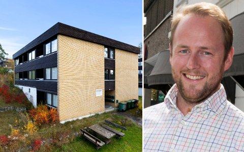 BLOKK TIL SALGS: En av de tre blokkene i Arnegårdsveien er nå til salgs. Eiendomsmegler Kenneth Simonsen har fått i oppdrag å selge blokka.