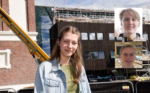 REALFAG: Ida Buttingsrud Stokke, William Lilleland (øverst til høyre) og Ola Sæther satser alle på realfag, og elevene har de beste utgangspunktene fra Ringerike videregående skole.