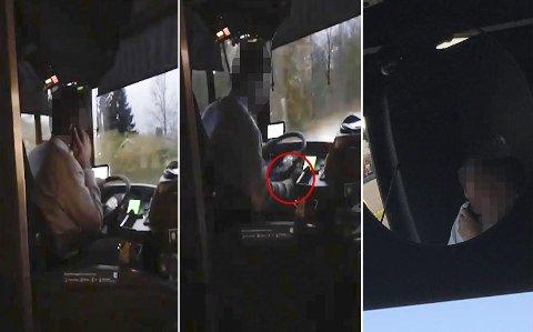 FERSKET: Disse to bussjåførene fra Nettbuss og Unibuss ble tatt på fersken av Tina Desirée fra Jessheim (innfelt), mens de brukte mobiltelefonene. Nå har hun sett seg lei på mobilbruken til enkelte bussjåfører. FOTO: Privat