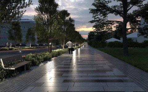 BREDT: Den planlagte 24 meter bred bygaten skal inneholde to kjørefelt, tosidig opphøyd sykkelbane, grøntrabatter med overvanns/fordrøyningsanlegg og brede fortau. Skisse: COWI