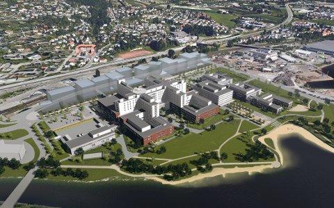 NYTT: Det planlagte sykehuset på Brakerøya har en kostnadsramme på 8,46 milliarder kroner med fortløpende innflytting i 2024–2025. Skisse: Link Arkitektur