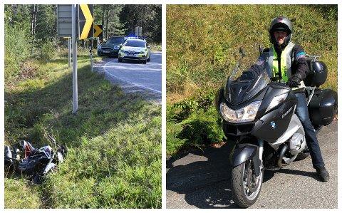 SIER IFRA: MC-fører Pål-Fredrik Hansen mener at lastebilsjåfører bør ta større ansvar for at de ikke tar med seg for store lass med grus ut på veien. Onsdag formiddag veltet en MC-fører i Hanekleiva etter å ha sklidd på grus.