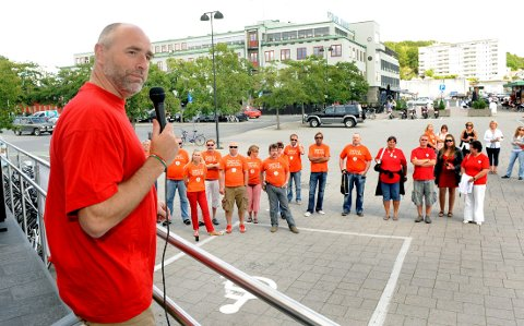 STØTTER SJØFOLKENE: Stortingsrepresentant Dag Terje Andersen (Ap) talte til ansatte i Color Line da han besøkte Sandefjord i 2009.