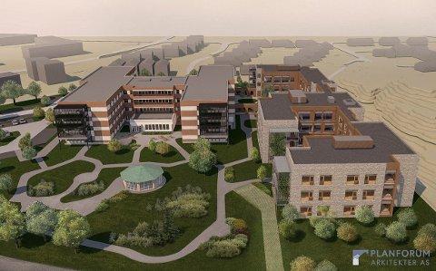NYGÅRD SYKEHJEM: Nybygget ved dagens Nygård bo- og behandlingssenter er anbefalt å bygges øst (til høyre) for det eksisterende bygget. Det får 72 plasser. Det eksisterende bygget har i dag 126 plasser og skal etter ombygging få 108 plasser (Tegning: Planforum Arkitekter AS)