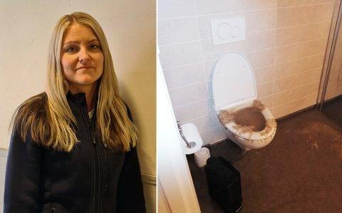 KLOAKKEN FLØYMDE UT: Kloakk frå heile byggefeltet fløymde opp frå toalettet på badet i leilegheita Karoline Orheim leiger på Sunde. Hendinga førte til at heile sokkelleilegheita må renoverast. Ho og borna hennar bur no på hotell.