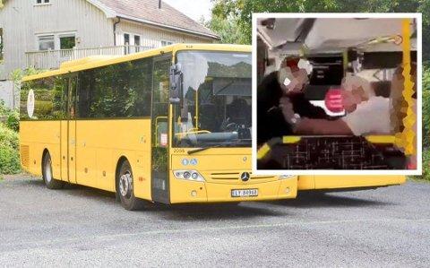 SLÅSSING: En bussjåfør og en elev ved Kragerø videregående skole slåss på en buss onsdag ettermiddag. Sjåføren er tatt ut av tjeneste. Illustrasjonsfoto: Per Eckholdt / Innfelt foto: Privat