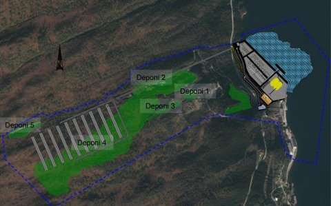 Stort område: En oversikt over de forskjellige deponiområdene på Raudsand.