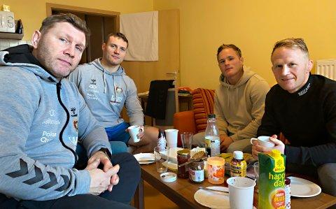 Eren Gjægtvik (fra venstre), Felix Baldauf, Morten Thoresen og Stig André Berge forbereder seg til OL-kvalifisering med treningsleir i Ungarn.