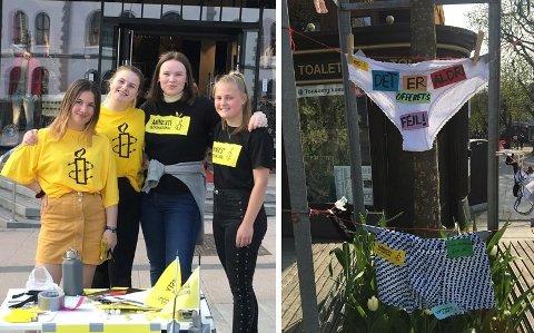 SIER NEI: Aurora Aardahl Wegge (14), Mille Charlotte Sjøttem (15), Thelma Almen Hjorteseth (15) og Victoria Steen Hansen (19)