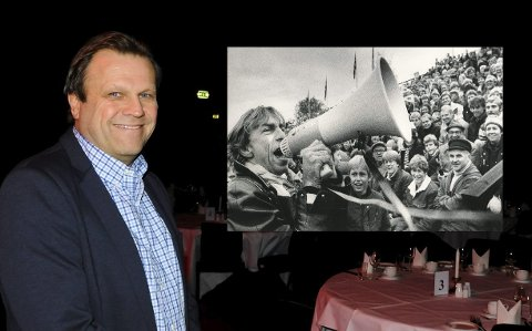 INNSAMLING: Nick Sandberg føler optimisme i byen rundt Teigen-innsamlingen. Innfelt ser vi Jahn Teigen på Tønsberg gressbane under en Eik-kamp på 80-tallet.