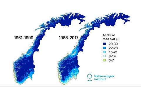 UTVIKLINGA:Kart basert på nedbør- og temperaturdata for periodene 1961-1990 og 1988-2017. Viser hvor mange år det har vært snø julaften i hver periode. Grensa for snø er satt til 10 millimeter målt i vannekvivalent.