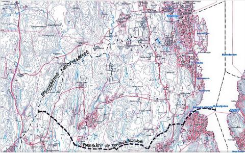 I Blylaget vels henvendelse til begge kommunene i 2016 ønsket de en grensejustering som tegnet inn på kartet her. _ Vi  håper det kan skje noe nå, uttaler leder i Blylaget vel, Lars Grimsgaard.